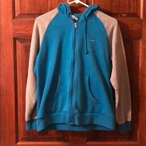 NIKE blue and grey front zip hoodie
